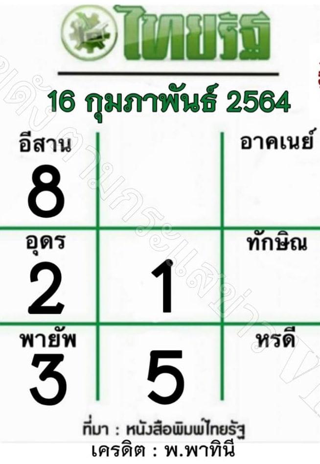 หวยไทยรัฐ 16/2/64