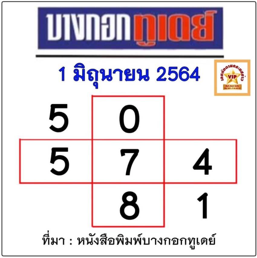 หวยบางกอกทูเดย์ 1/6/64