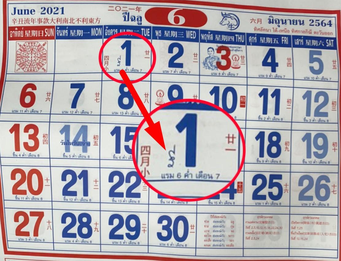 เลขเด็ด ปฏิทินจีน 1/6/64