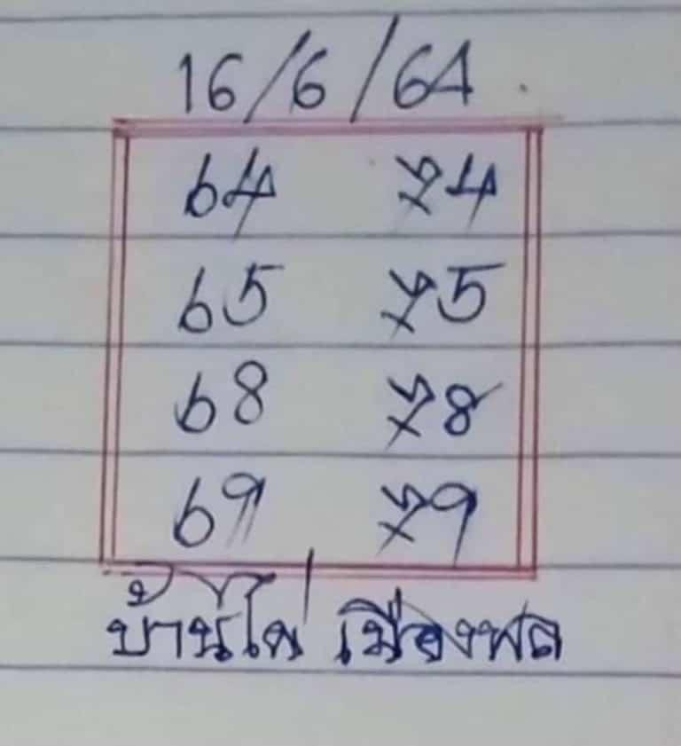 หวยบ้านไผ่เมืองพล 16/6/64