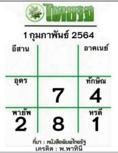 หวยไทยรัฐ 1/2/64
