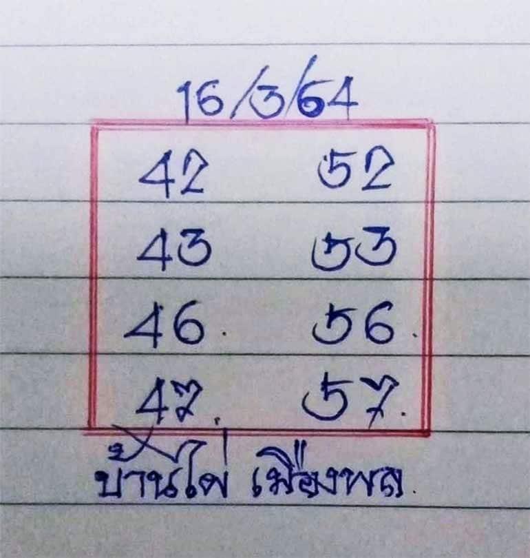 หวยบ้านไผ่เมืองพล 16/3/64