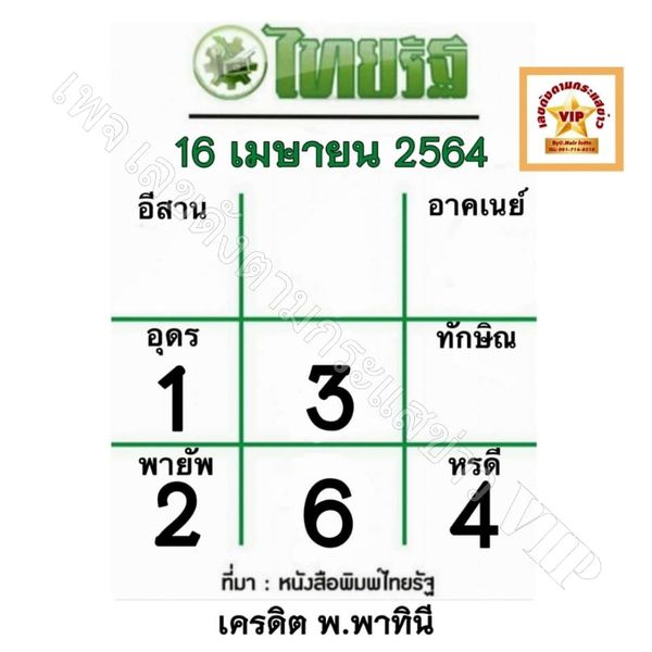 หวยไทยรัฐ 16/4/64