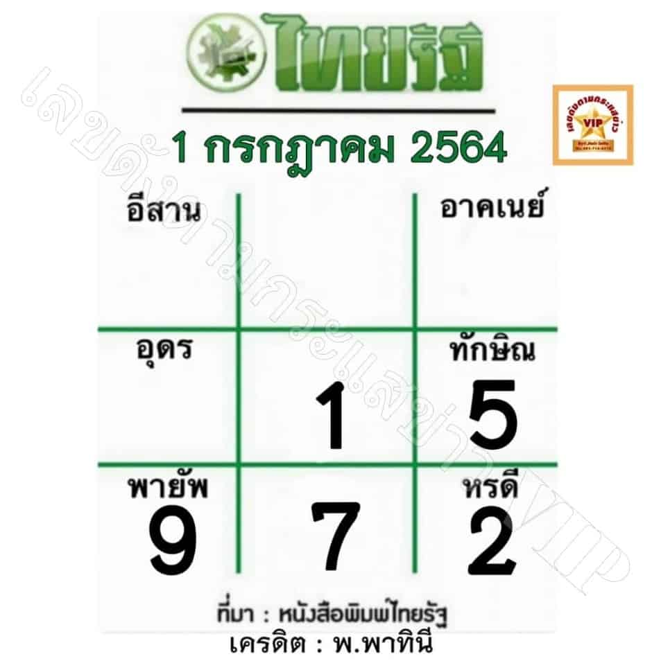 หวยไทยรัฐ 1/7/64